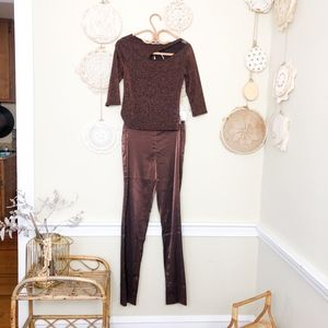 Vintage 90s Y2k Holiday Top & Pants Two Piece Set